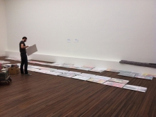 Installing of the Newtopia exhibition